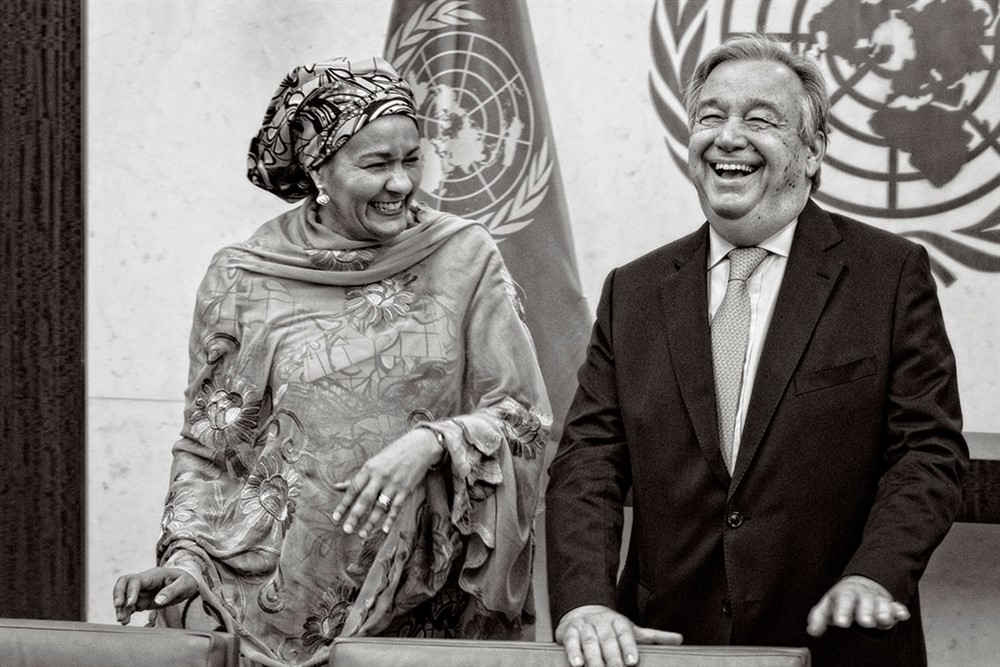 The 9th Secretary-General of the United Nations António Guterres, in his office with Deputy Secretary-General Amina J. Mohammed, on their first day at work in their new capacities. UN Photo/Mark Garten