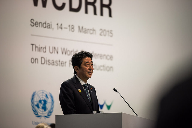 Prime Minister of Japan, Shinzo Abe, at the Third UN World Conference on Disaster Risk Reduction in March 2015 in Sendai City, Miyagi Prefecture, Japan. Photo UN ISDR