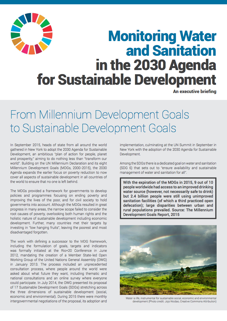 Monitoring Water and Sanitation in the 2030 Agenda for Sustainable Development – An executive briefing EN, FR, SP