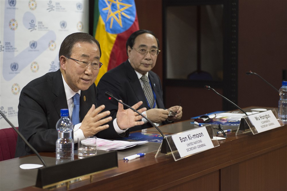 Former Secretary-General Ban Ki-moon (left) addresses a press conference before departing from Addis Ababa, after attending the Third International Conference on Financing for Development. At his side is Wu Hongbo, UN Under-Secretary-General for Economic and Social Affairs. UN Photo/Eskinder Debebe