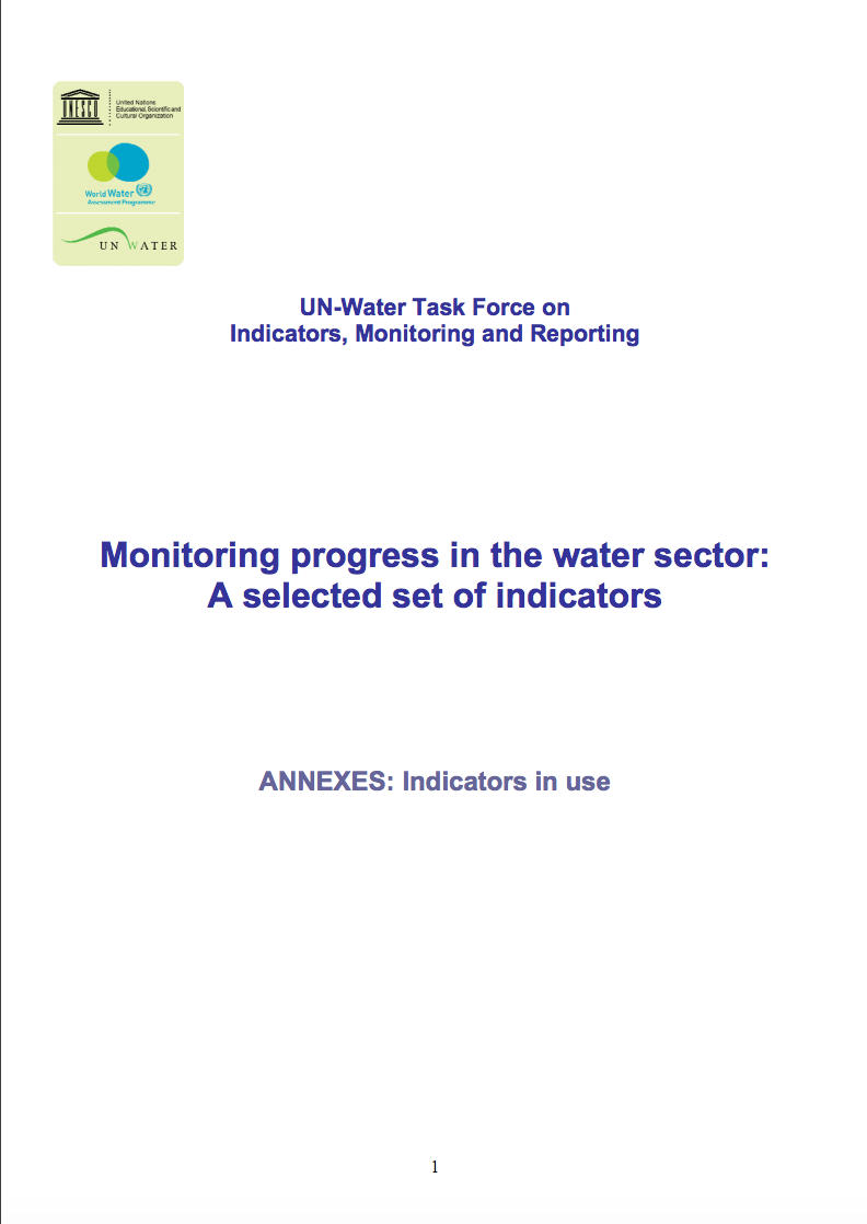 ANNEX Monitoring progress in the water sector: A selected set of indicators