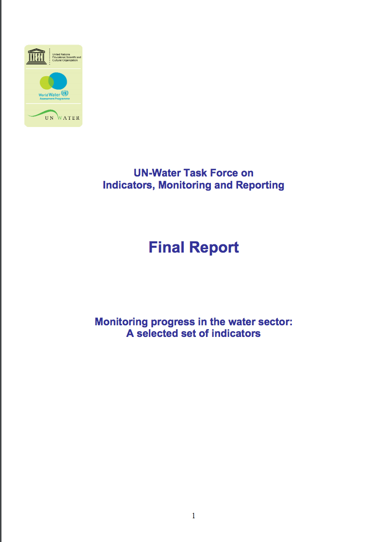 FINAL REPORT Monitoring progress in the water sector: A selected set of indicators